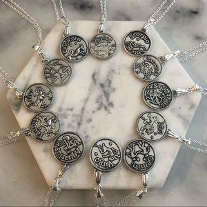 Handmade Zodiac Sign Coin Pendant Necklaces